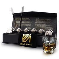 Metal Engraved Reusable Stainless Steel Ice Cubes Gift Bar Set Chilling Stones With Tongs and Storage Box