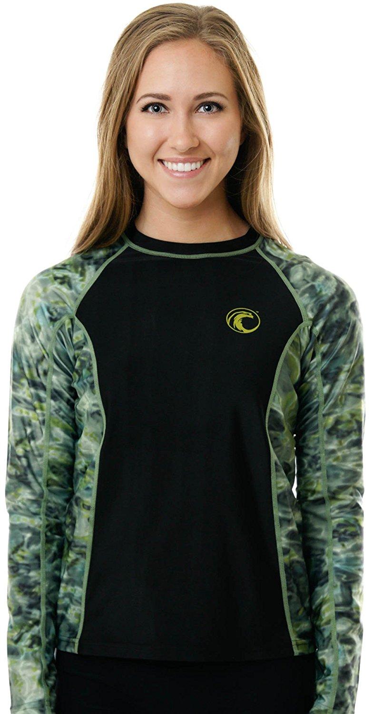 157cef99986e3 Aqua Design Women s Long Sleeve Big Wave UPF 50+ Sun Protection Rash Guard  Shirt