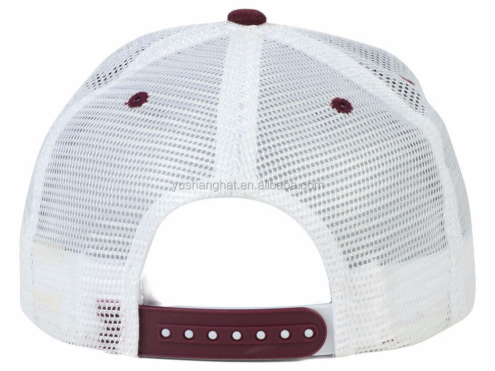 Factory custom white mesh flat bill 3d embroidery snapback hat with plastic buckle