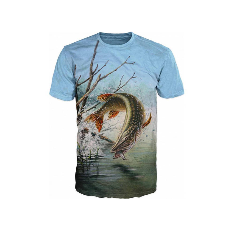 Sublimation Fish Print T-Shirt sublimation fishing shirt manufacturers digital printing T shirt