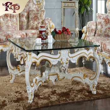 Luxury Royal Antique Gold Square Wooden Coffee Tables for home furniture