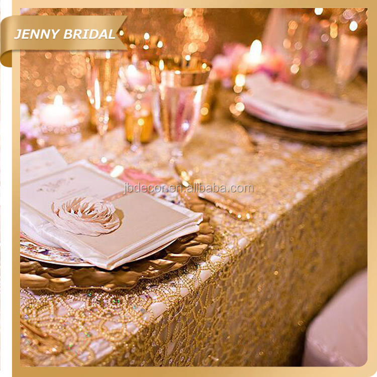 TL001 Gold Lace Round Wedding Table Overlays Banquet Table Cloths
