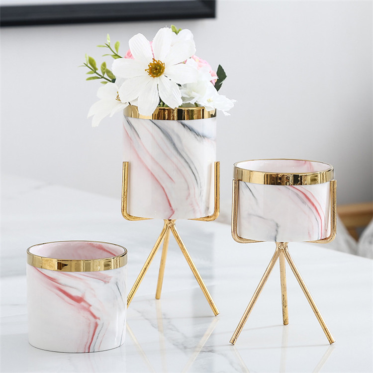 Wedding decorative gift item cylinder macetas / gold rim marble home decor ceramic flower pot with iron stand