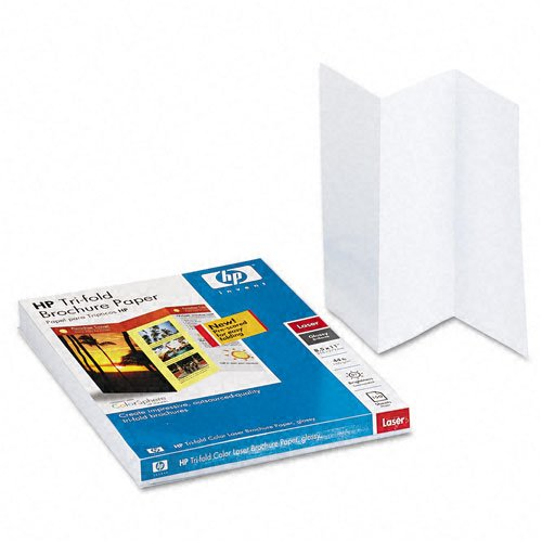 HP : Tri-Fold Color Laser Brochure Paper, Glossy, 8-1/2 x 11, White, 150 Sheets/Pack -:- Sold as 2 Packs of - 150 - / - Total of 300 Each