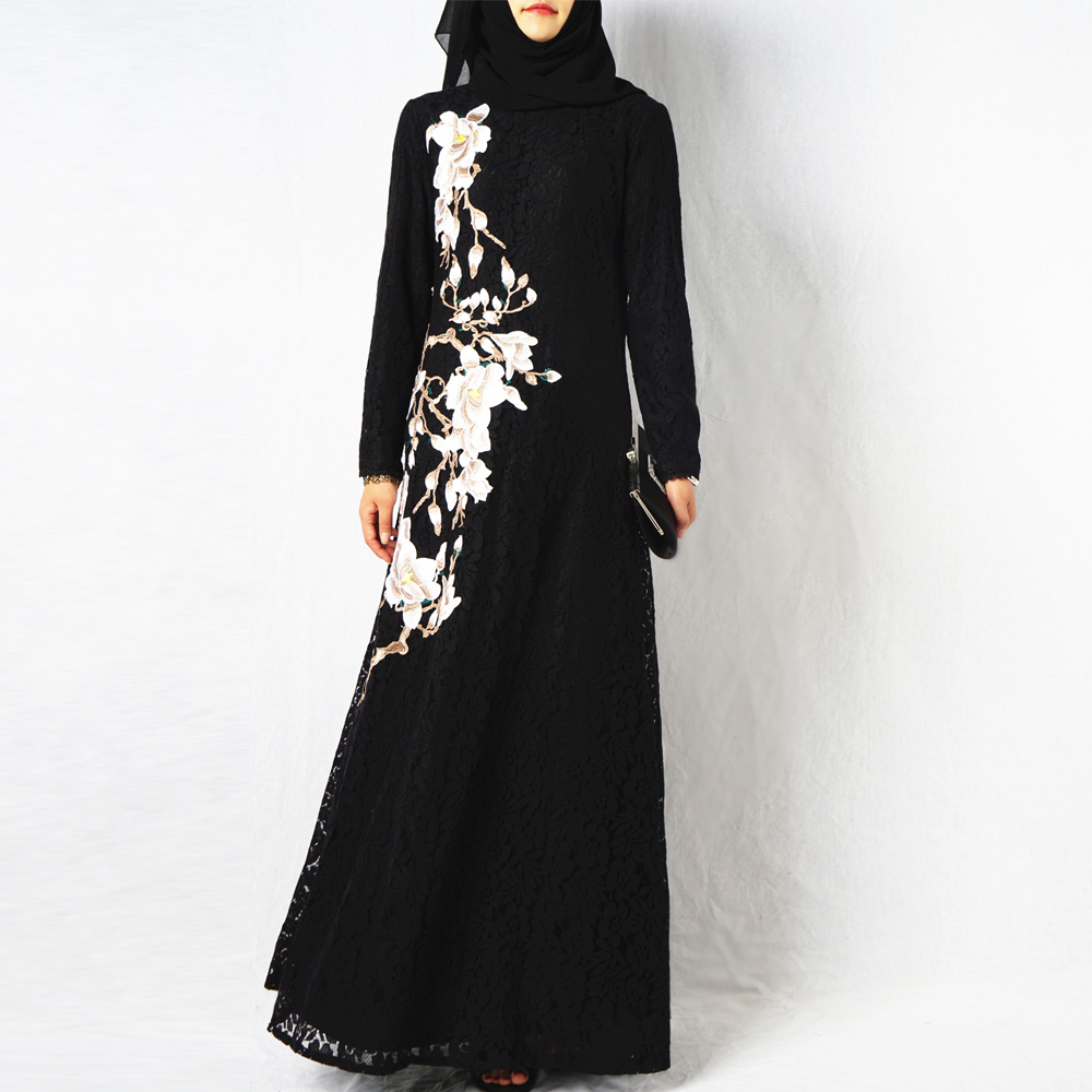 2018 New model dubai abaya embroidery wholesale islamic women clothing black muslim dress lace full length with factory price