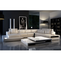 Italian Design Large Size U-shaped Genuine Leather Corner Sofa 0413