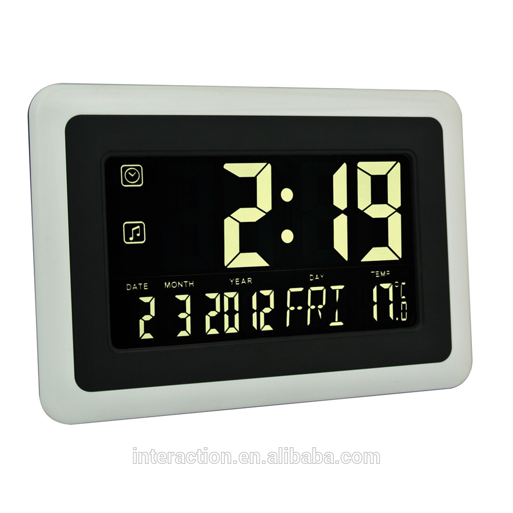 Radio Controlled Wall Clock Digital Wall Mounted Lcd Clock Clock