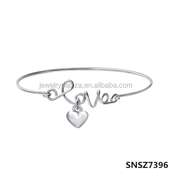 Fashion Love Heart Charm Bracelet Bangle Openable Children Bracelet In Sterling Silver