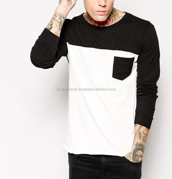 Mens Cuffed Long Sleeve Colour Block T Shirt With Pocket - Buy ...