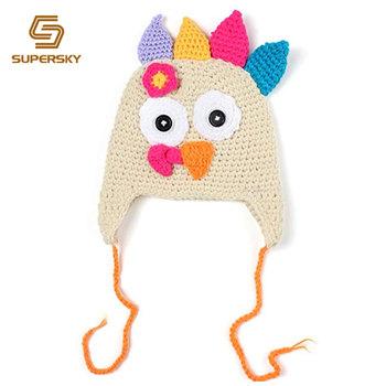 Thanksgiving turkey beanie cap animal handmade crochet baby hat with  pigtail braids 43875067d39