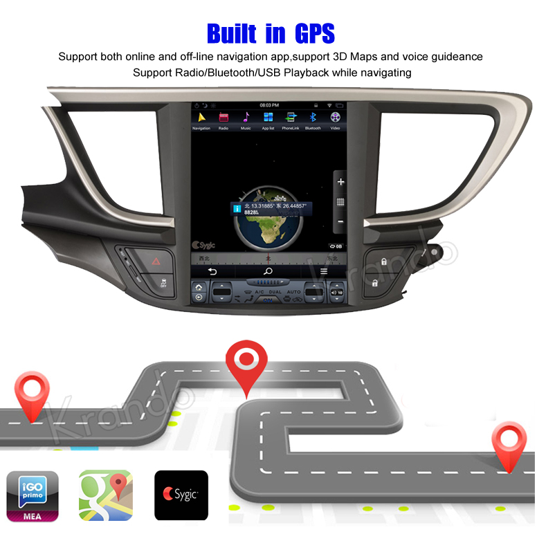 Krando 10.4 '' Vertical screen android car radio multimedia Buick  Excelle 2015+ big screen navigation with gps system