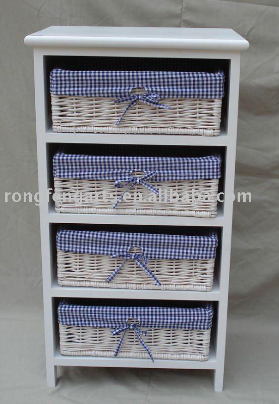 Gabinete de madera muebles con cuatro cestas de mimbre for Muebles con cestas
