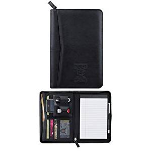 Truman Pedova Black Jr. Zippered Padfolio 'T Dog Engraved'