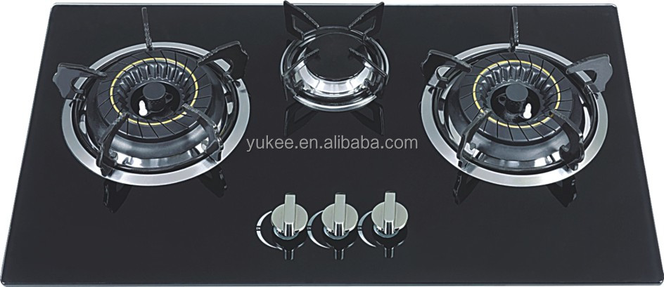 Built in 3 burners gas stove glass panel YD-GH301