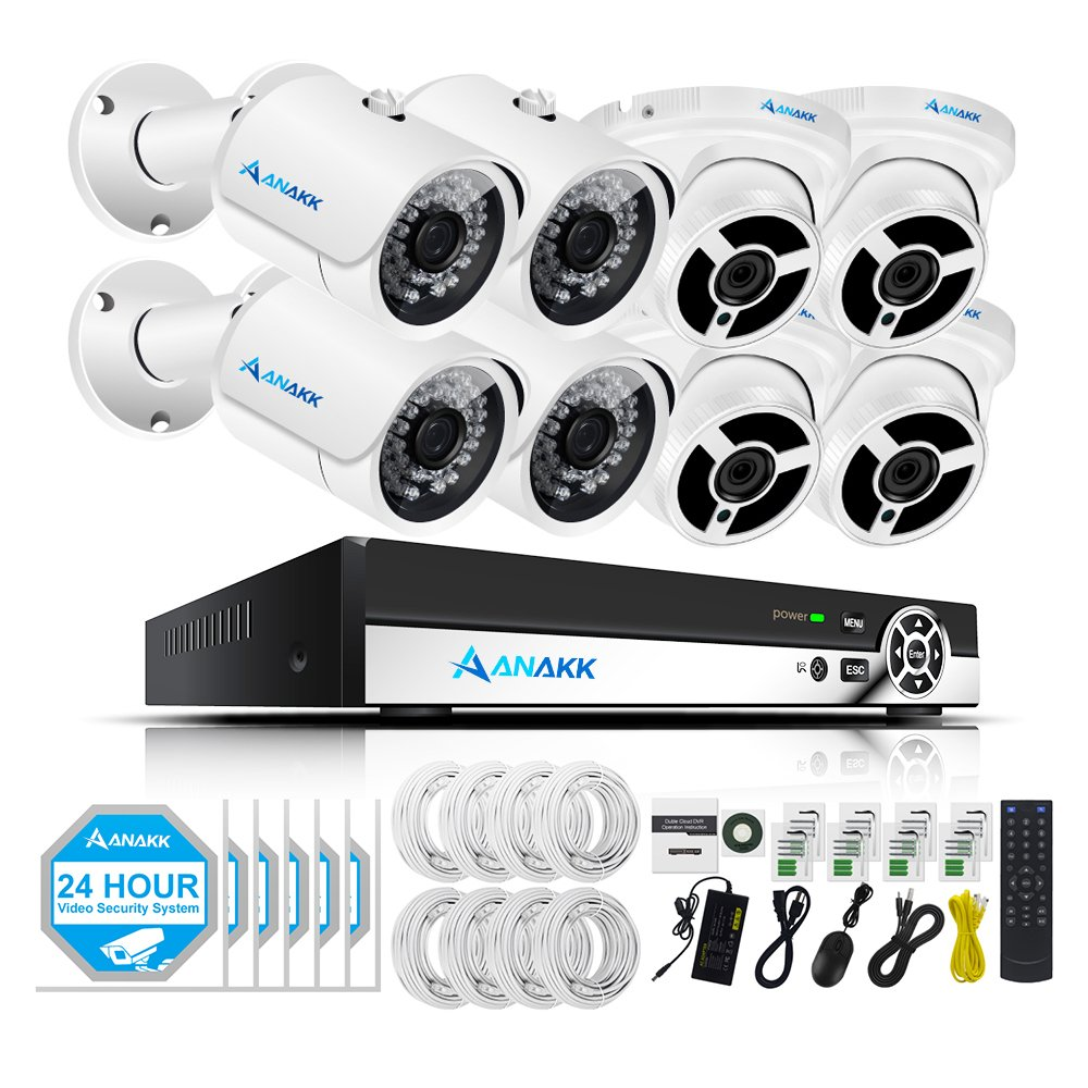 Anakk 8 Channel PoE CCTV Security Camera NVR System 1080P IP Surveillance Cameras Outdoor 4 Bullet 4 Dome Day Night Vision, Power Over Ethernet, Motion Detection (No Hard Drive)