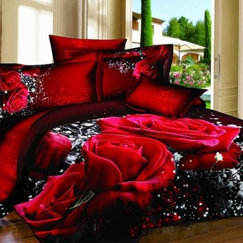 Red Rose Printed 3D Bedding Sets California King Size Duvet Cover Sets With  Flat Sheets100%