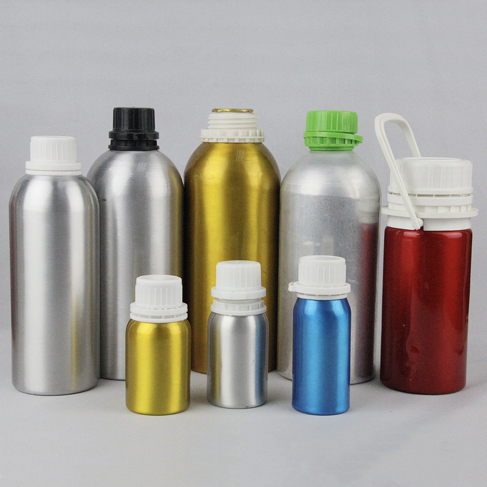 High quality clear empty white 50ml 100ml 500ml aluminum fragrance essential oil chemical  pesticide packaging bottle wholesale
