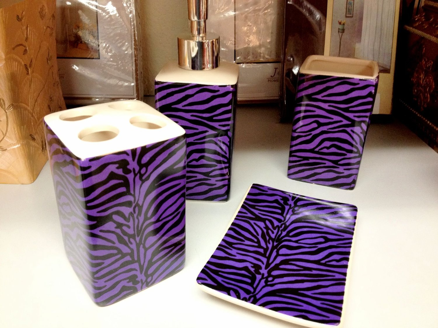 Purple Zebra Print Ceramic Bathroom