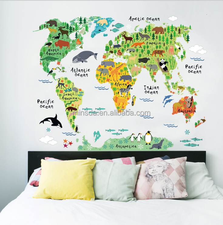 Animal World Map Wall Stickers Kids Bedroom Living Room Background