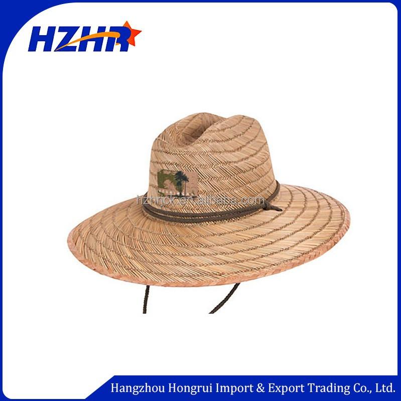 Atacado logotipo personalizado uso de pesca de praia de abas largas chapéu  de palha de Aba 8deeb380e83