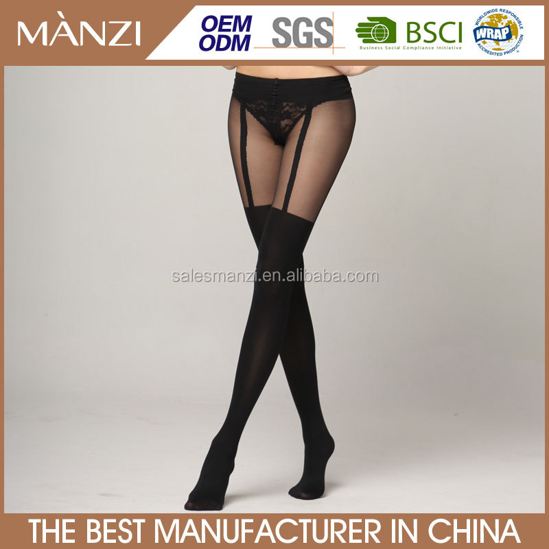 MANZI 300D jacquard simple suspender imitation stockings sexy ladies full body pantyhose