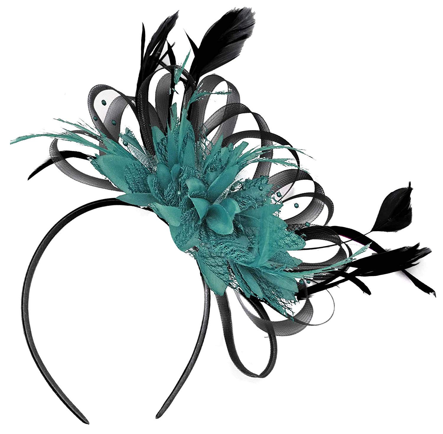 96fd63abd40 Get Quotations · Black and Teal Feather Hair Fascinator Headband Wedding  Royal Ascot Races
