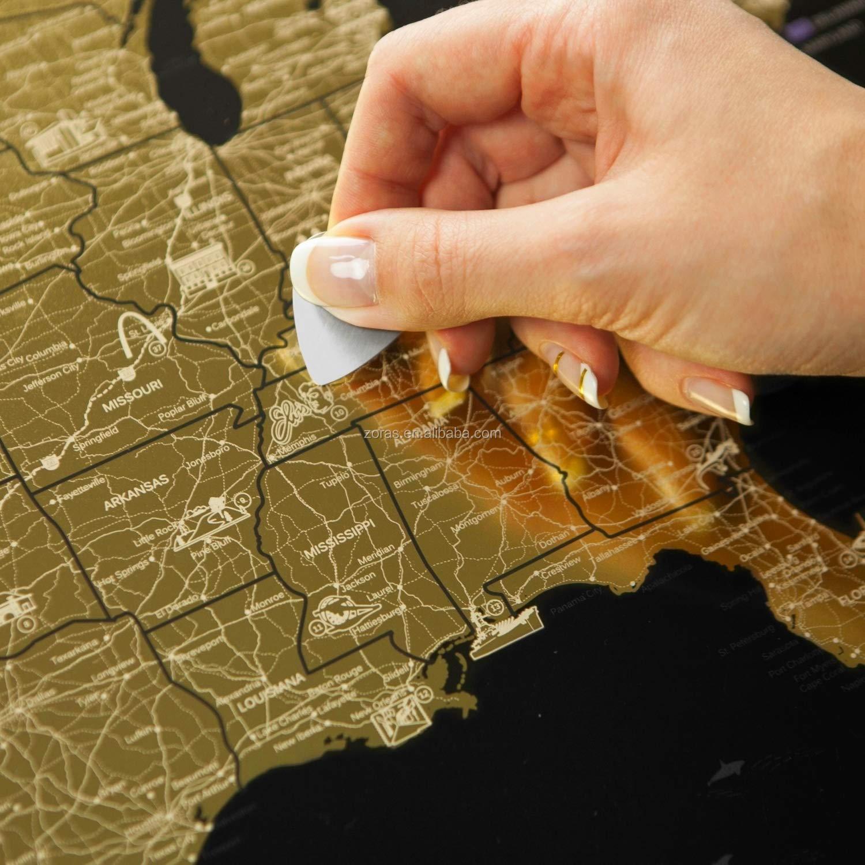 Brillant Rayure Détaillée-Carte Canada Provinces Et U. s. un État Séparé Avec Drapeaux En Bas Gratter Hors Carte
