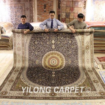 YILONG 9'x12' Hand Knotted Qum Persian Rug Traditional Hand Knitted Carpet Silk for Living Room