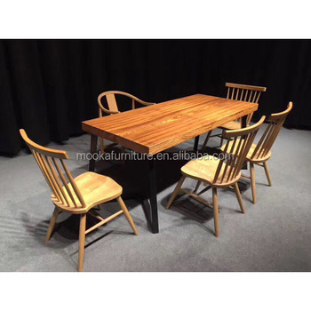 Rectangular Shaped Style Zebra Wooden Dining Table Set