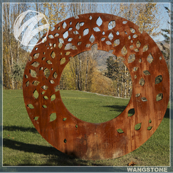 Laser Cut Garden Rustic Art Annular Corten Steel Sculpture For Sale