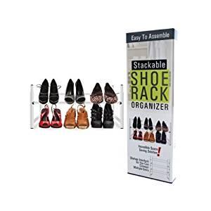 Bulk Buys Household Metal Stackable Shoe Storage Shelf Rack Organizer White Pack Of 1