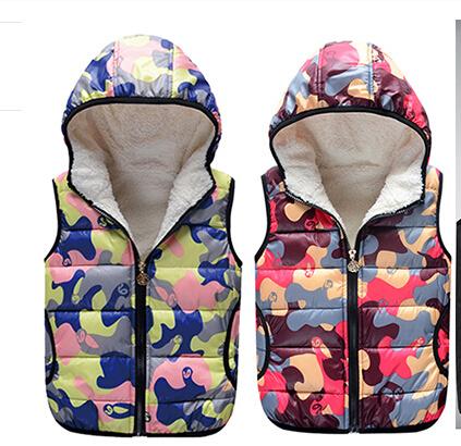2016 autumn winter children s warm vest camouflage thicken cashmere baby girl boy vest for big