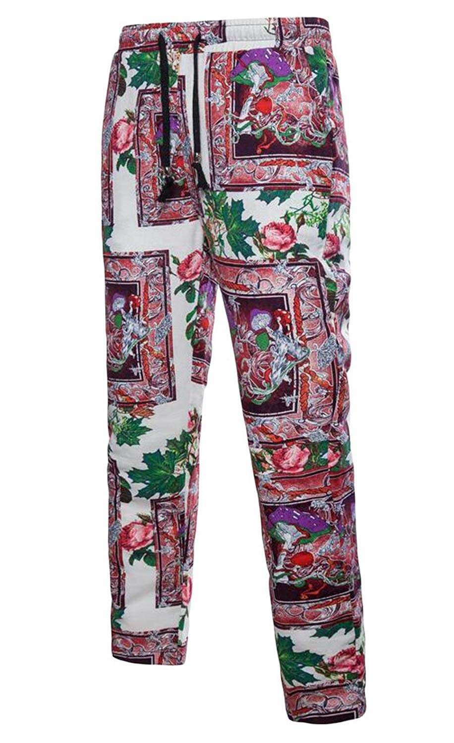 Jofemuho Mens Casual Ethnic Drawstring Loose Fit Floral Print Cotton Linen Pants Trousers