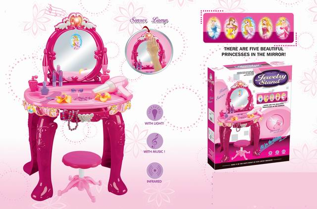 Girls rose red princess musical dresser desk with sensor lamp