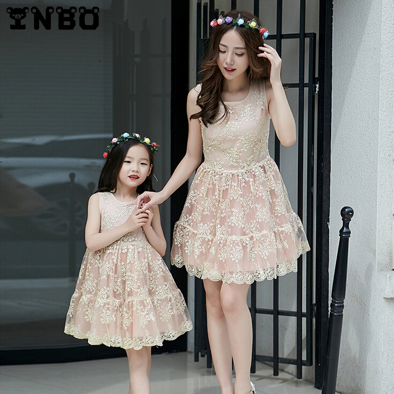 d104920b7 Mother Daughter Dresses Evening 2016 Summer Champagne Gold Lace ...