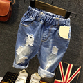 2016 Boys Denim Shorts Ripped Hole Casual Children Jeans Shorts Fashion Pockets Elastic Waist Summer Kids