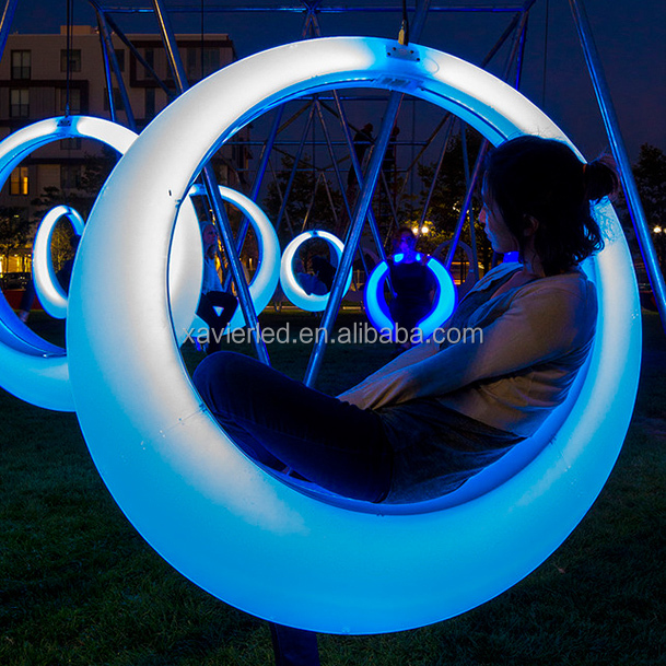 LED lilluminated Swing/PE retational moulding outdoor furniture/ led light swing