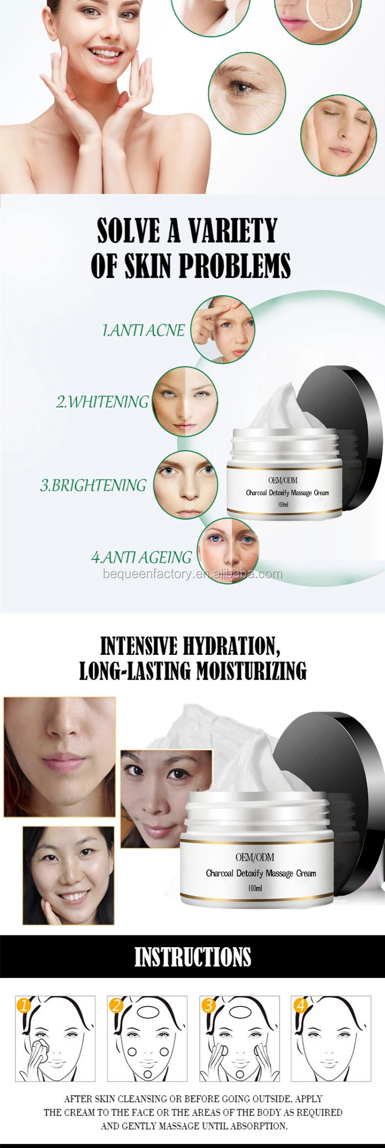 Korean detox face bamboo charcoal whitening massage cream