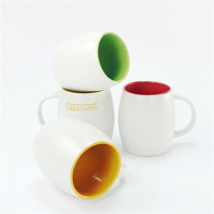 Unique 450ml round shape large colorful couble mugs and cups / pink coffee ceramic mug