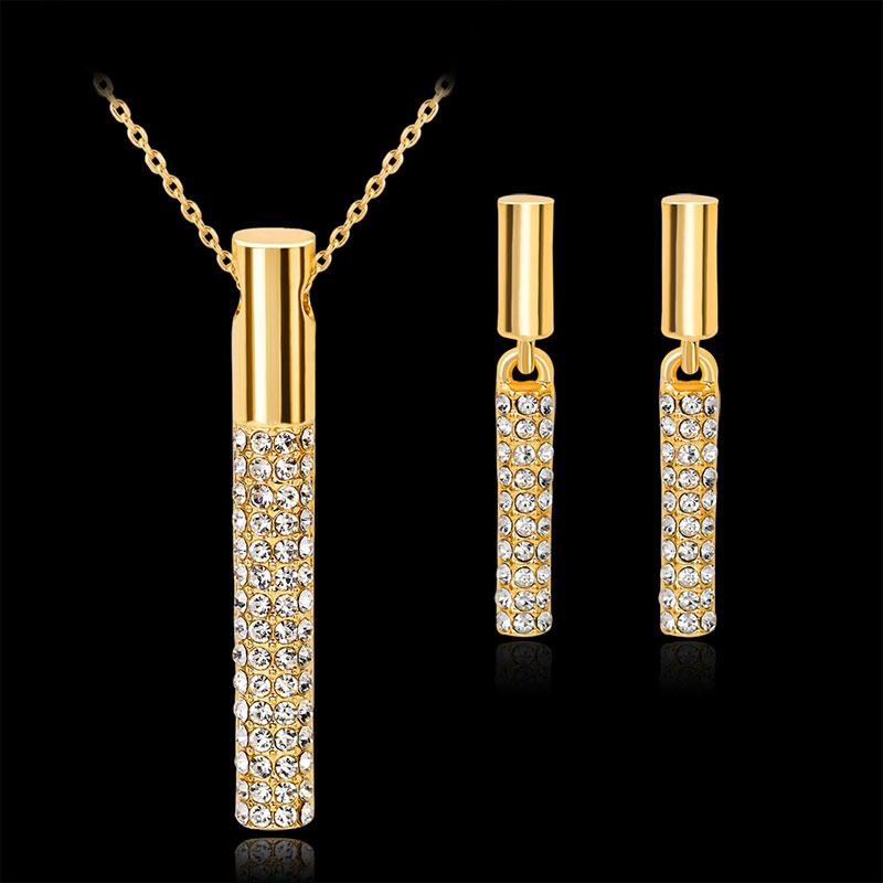 57d0b9e20552 Venta caliente chapado en oro de diamantes de imitación collar de  pendientes conjuntos de joyas decoraciones