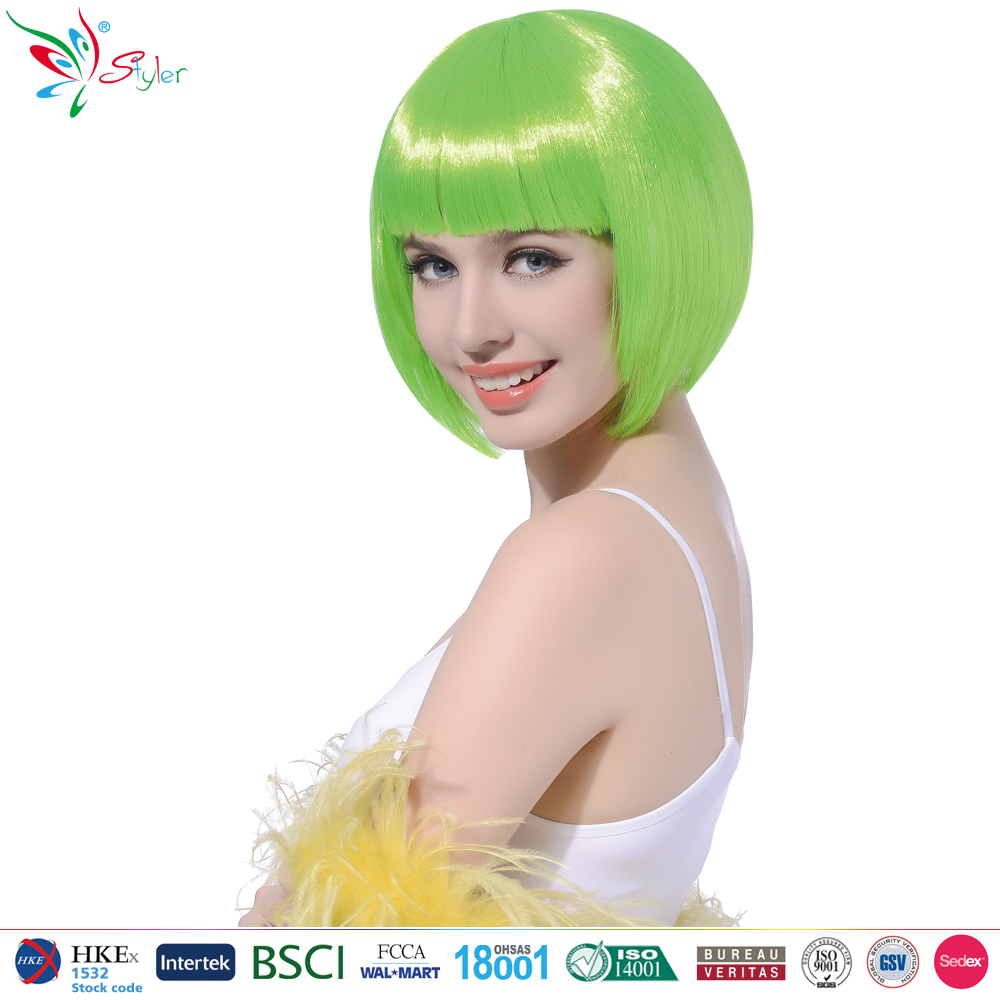 bob style short straight green fashion party city wigs
