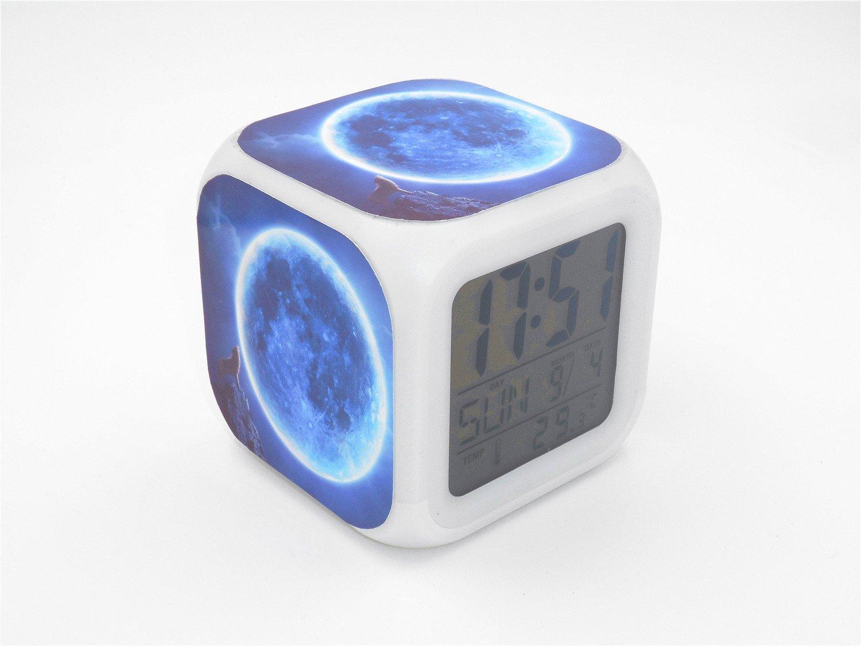 Boyan Led Alarm Clock Moon Wolf Animal Design Blue Creative Desk Table Clock Glowing Electric Led Digital Alarm Clock Kids Toy Gift
