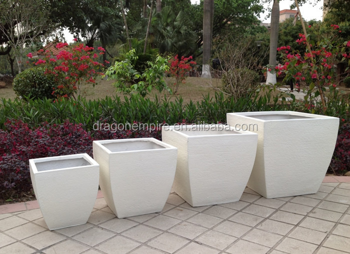 Decorative Fiber Cement Textured Flower Pots Fiber Cement