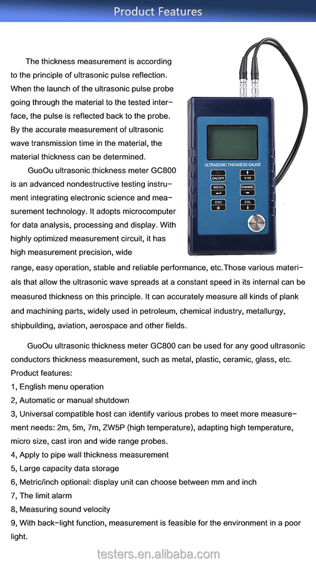 Ultrasonic Thickness Meter Gauge Electronic Thickness Gauge GC800