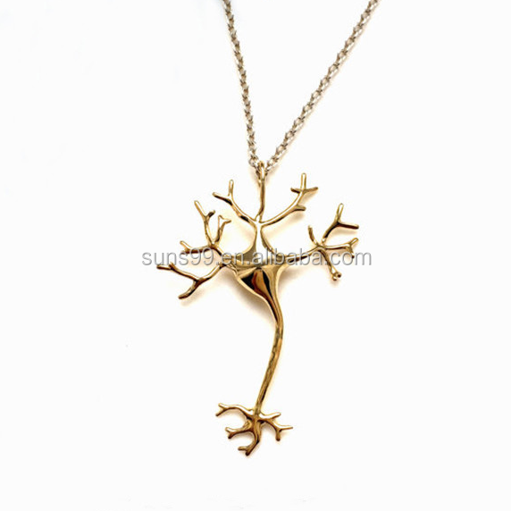 Fashion Women Neuron Cell Biological Anatomical Science Pendant Necklace Jewelry