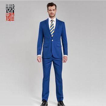 cc01335632188 Estilo americano moderno fit azul pantalones abrigo traje de negocios