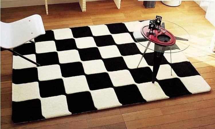 br ve moderne noir et blanc carreaux tapis pour salon de tournesol tapis table basse tapis. Black Bedroom Furniture Sets. Home Design Ideas