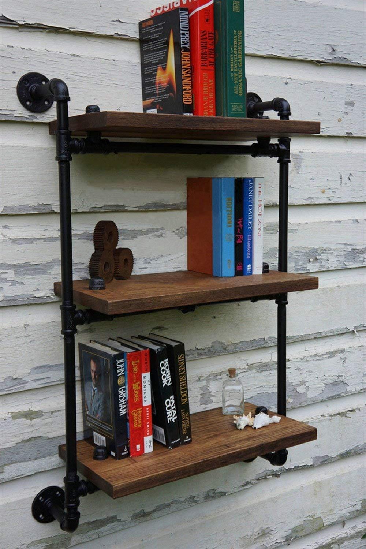 LQQGXL Storage and organization Shelves Retro industrial pipe shelves Solid wood multi-shelf storage bookshelf (Size : 8020100cm)