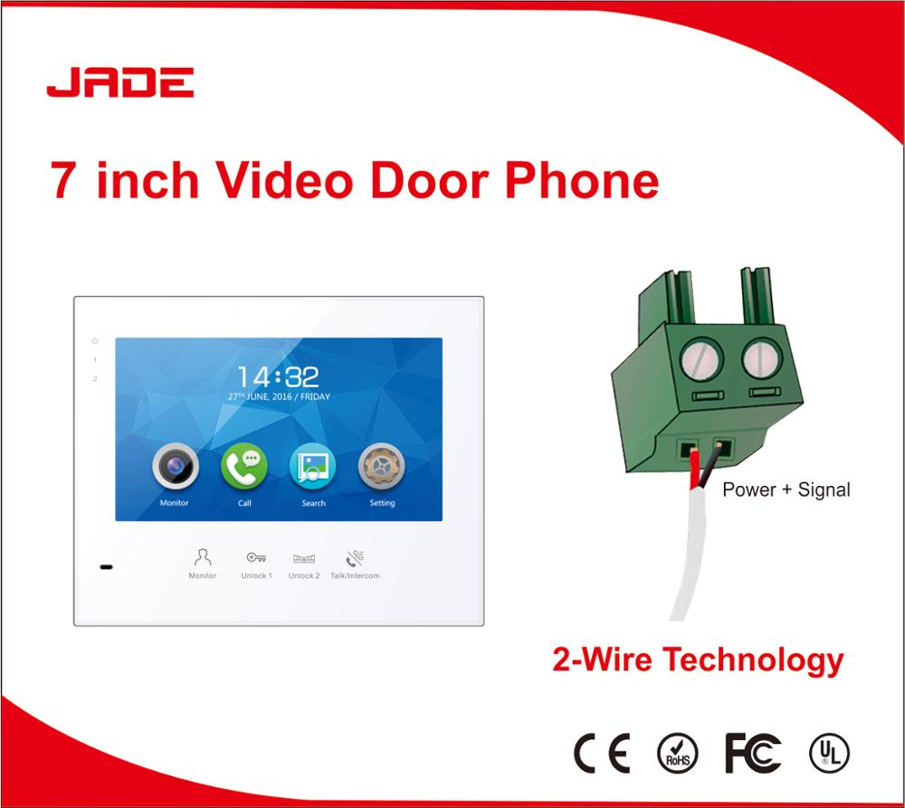 jade hot selling wired intercom system 7 inch color video door phone with internal intercom function
