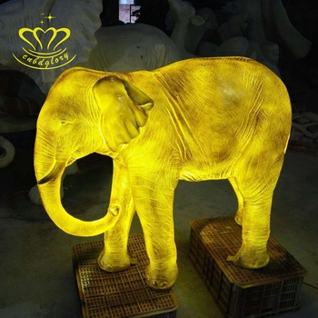 Outdoor garden christmas Night Scene home decor fiberglass resin craft New product Life size LED light Elephant statue